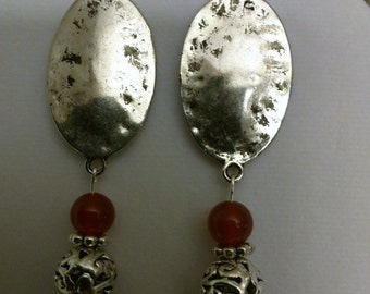 Antique Silver and Gemstone Dangle Earrings