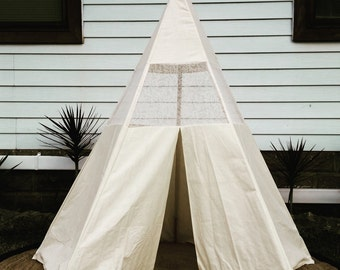Handmade natural teepee with lace insert