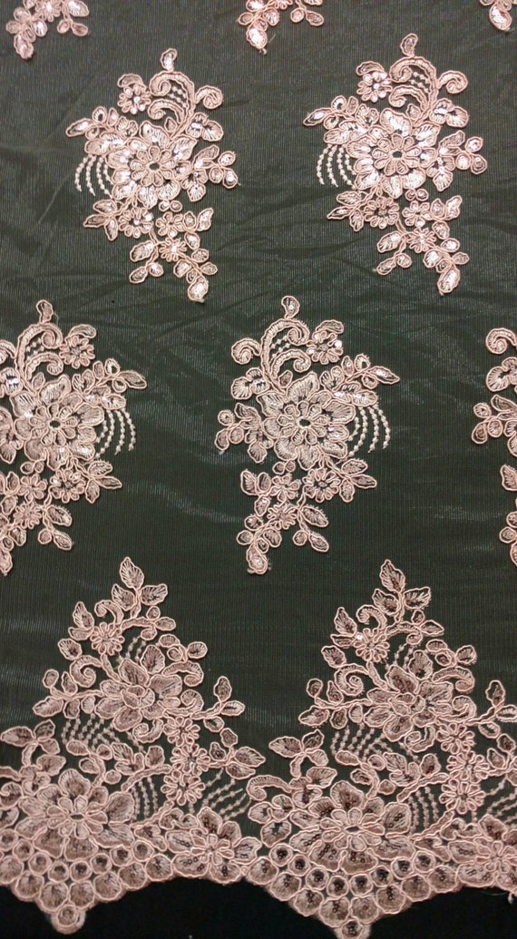 Dusty Rose Sequin Embroidered Lace Fabric By The Yard