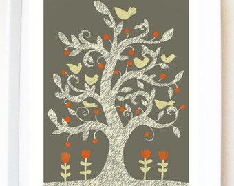 Art PRINT of original mixed media illustration, 'September tree', tree illustration, birds, flowers, wall art, bird illustration.