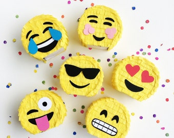 Emoji Pinata Party Favors | Set of 6 | Emoji Party | Mini Piñatas | Emoji Decorations | Birthday Pinatas