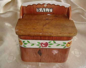 Vintage Orchard Ware Fine Quality Japan Wood Grain Salt Box with Roses ~ 1950's