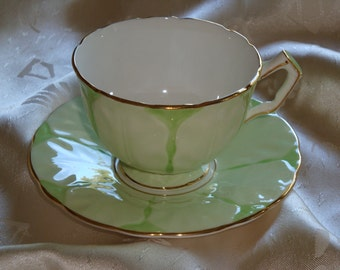 Aynsley England Pale Green Cup and Saucer ~ Pattern C1520