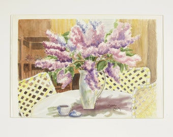 ORIGINAL painting, watercolor, flowers, lilacs, still life, summer, gift art, 18x24/mounted 22x28