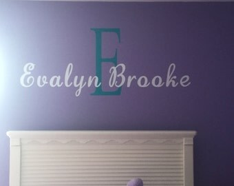 Name Decal for wall with Initial Large