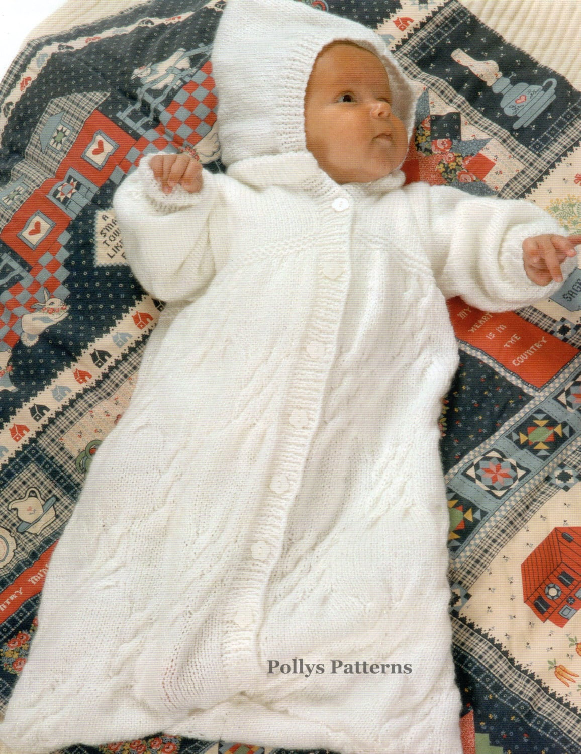 Knitting Pattern Sleeping Bag : PDF Knitting Pattern for a Babies Sleeping Bag or Cocoon