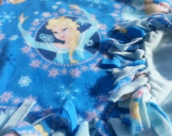 READY TO SHIP Blue Frozen Knotted Fleece Throw With Antipill Backing