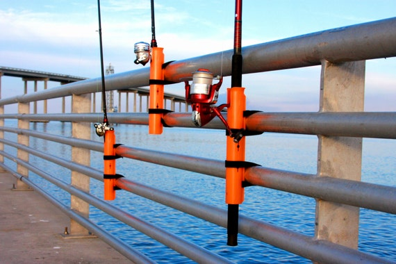 Pier a mount fishing rod holder by fishing101 on etsy for Homemade fishing rod holders for bank fishing