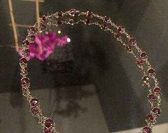 Vintage Sterling Silver Garnet Bead Necklace