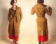 Spring Khaki  Coat Velvet coat Embroidered coat 90's Does 70's Hippie style M Size