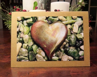Heart & Pebbles.  Photo Greeting/Note Card.  Blank Inside.