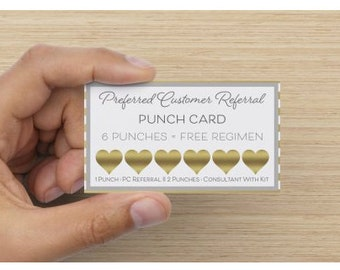 Rodan + Fields Referral Rewards Punch Card in Gold DIGITAL DOWNLOAD