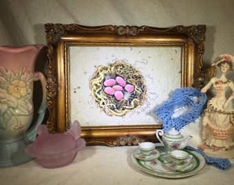 """Acrylic Painting of Bird Nest on Hand Made Paper """"The Last Straw"""""""