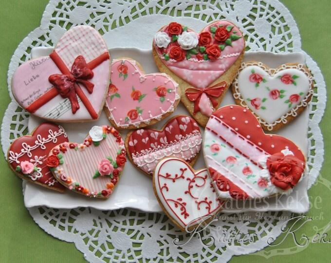 Set mit 9 Herz-Keksen, zum Beispiel zur Hochzeit, Valentinstag, Jahrestag, rot, rosa, Liebe