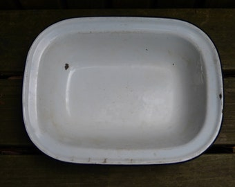 Vintage White Enamel Baking Dish