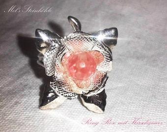 Ring rose & cherry quartz
