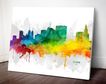 Newark Skyline Canvas, Newark Print, Newark Decor, Newark Gift, Newark Wall Art, MMR-USNJNE05C