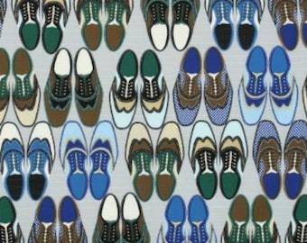 Timeless Treasures Menswear Wingtips Men's Dress Shoes Grey, 44-inch **HALF YARD CUTS**