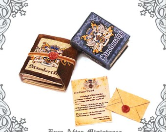 WIZARD SCHOOL Dollhouse Miniature Book & Acceptance Letter Kit Combo – 1:12 Magic School Miniature Book + Welcome Package Printable DOWNLOAD