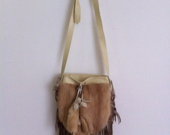 new Bags of leather and fur mink , little bag on a long strap, free shipping.