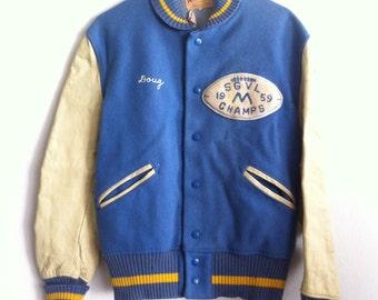 Training Jacket Vintage Blue&White Genuine Soft Leather And Wool Jacket  Men's Size Medium.