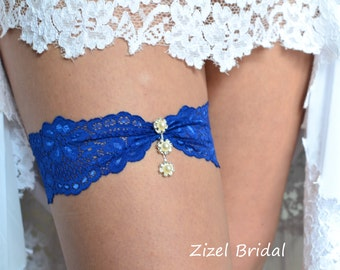 Blue Wedding Garter, Rhinestone Garter,  Lace Garte Set, Blue Bridal Garter, Royal Blue Garter,lingerie Garter, Somethig Blue, Toss Garter