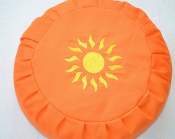 Meditation cushions, yoga pillows, Zafou, Sun Orange orange sun