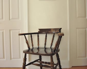 Antique Elm & Beech Captains Smokers Bow Carver Chair - 1900's (shipping not included)
