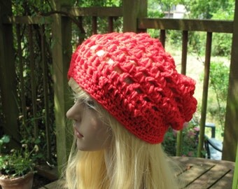 Crochet beret crochet hat red Sarah