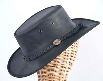 Real Australian Leather Hat. Original Barmah Hat-in-a-Bag. Made in Australia. Black Color