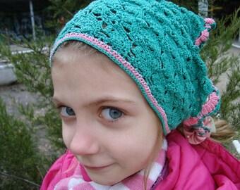Crochet Girls Headscarf, Headband, Green Hair Accessories, Young girls, Teen Headscarf, Kerchief, Bandana