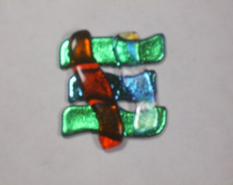 Dichroic and colored glass brooch.   (1220)