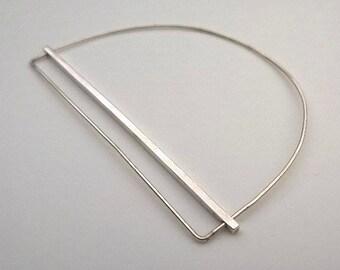 Minimalist Delicate Line And Bar Sterling Silver Bangle Bracelet