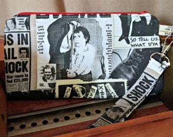 Punk Rock Wristlet-Sex Pistols-Sid Vicious-Johnny Rotten-Zippered Pouch-Clutch-Wallet-OOAK-Custom Made
