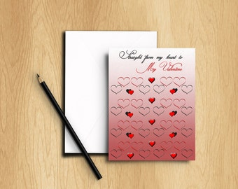 Pink, Red and Black Hearts Valentine's Card