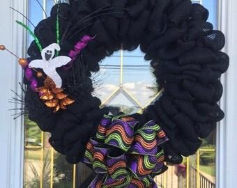 Black Halloween Burlap Wreath