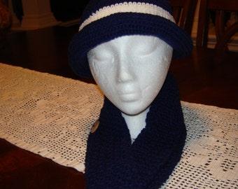 Dark Blue White Crocheted Scarf & Hat