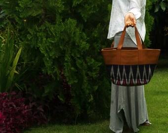 Goat leather + Nusa Penida ikat medium tote bag