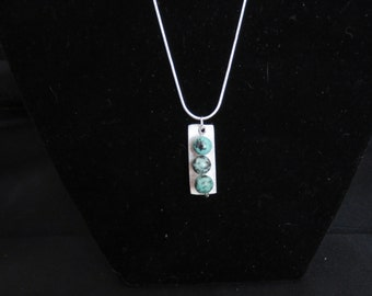 Silver pendant with greenish glass beads (022816-003)