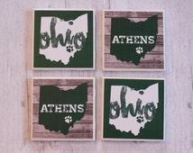 Ohio University Coasters, OU Coasters, Athens Ohio, Bobcats Coasters, Tile Coasters, Drink Coasters, Handmade Coasters, Coaster Set of 4