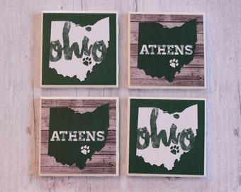 Ohio University Coasters, OU Coasters, Athens Ohio, Bobcats Coasters, Tile Coasters, Father's Day, Handmade Coasters, Coaster Set of 4