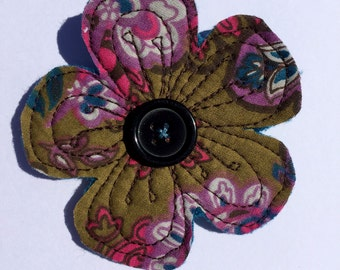 Recycled fabric flower brooch, Floral pin, Free motion embroidery flower decoration.