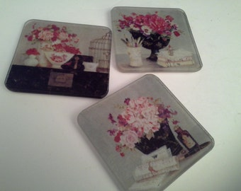 Glass flower coasters