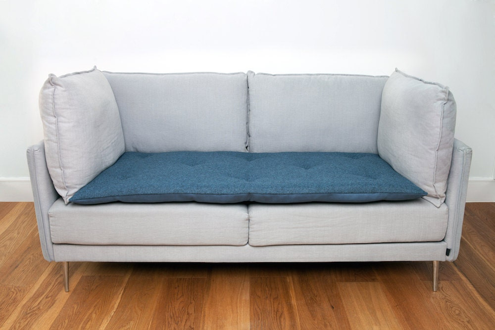 Sofa Topper in Storm Blue Wool Stylish Waterproof Sofa Cover