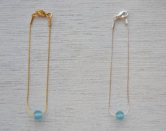 Simple light blue glass bead bracelet     Dainty elegant blue bracelet