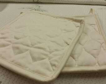 Organic Cotton Quilted Mug Rug in Natural