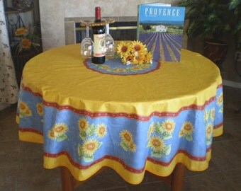 French Provence Vintage SUNFLOWER YELLOW BLUE Round Acrylic Coated Stain Resistant Tablecloth - French oilcloth Indoor Outdoor Tablecloths