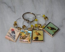 Bird Lovers Beaded Scrabble Tile Wine Charms ~ Set of 4 on Ring Holder ~ Used USA Bird Postage Stamps and Artistic Birds