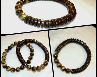 Unisex Faceted Tigers Eye & Coconut Bead Bracelet Set or Single Reiki Healing Chakra Balancing Gemstones Women's Men's Yoga Boho trendy