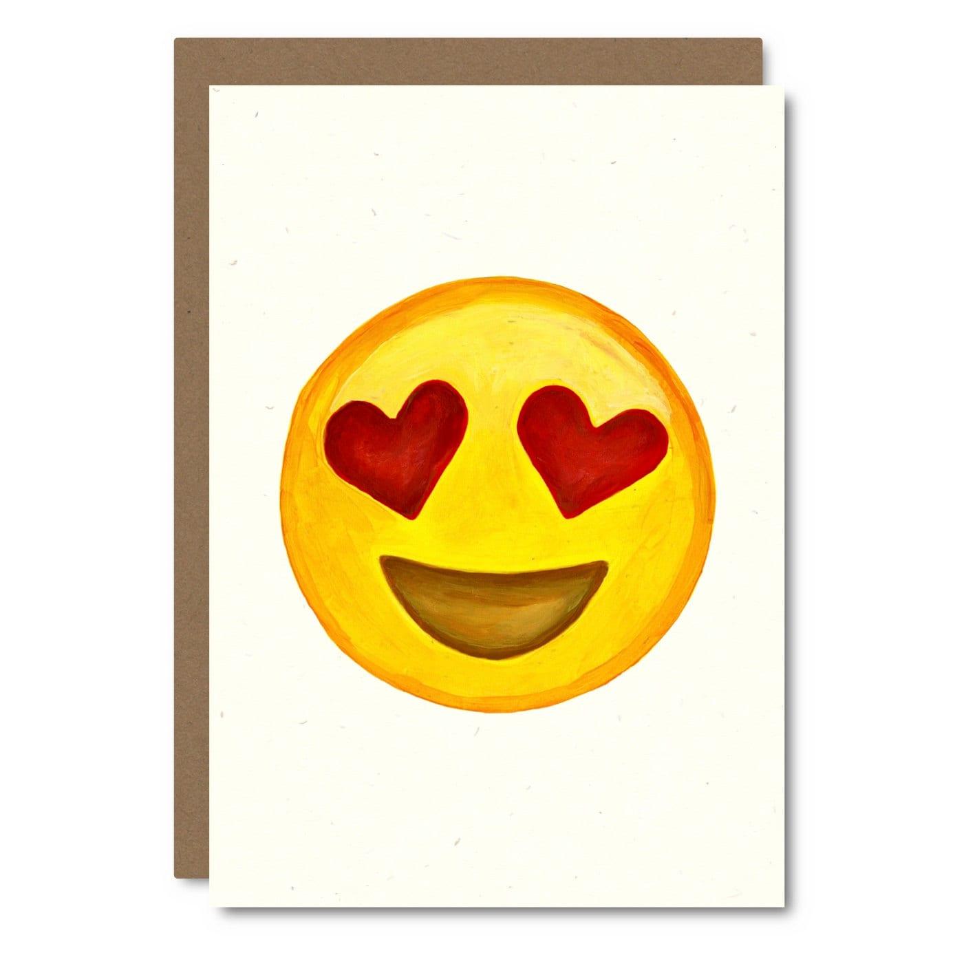 Painted Emoji Heart Eyes Card // Premium 100% Recycled Paper // Fun ...